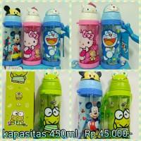 Botol minum anak kepala karakter Doraemon Hello Kitty keropi Micky