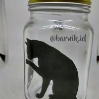 Gelas Jar Motif Kotak Warna Warni - Custom Pakai Nama dan Gambar