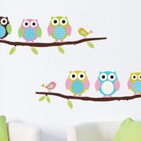 Promo!! Wallpaper Wall Sticker Dinding Tembok Motif Burung Hantu Lucu