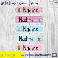 sticker nama anak kartun girl bunga muslimah SLNAP-120