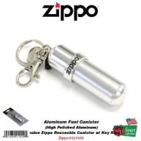 Zippo Aluminum Fuel Fluid Canister, Hi Polished, Reusable, w/ Key Ring