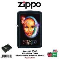 Zippo Venetian Mask, Black Matte Finish, Windproof Lighter #28669