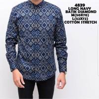 Kemeja Baju Batik Pria Model Terbaru Model Super Keren Diamond Blue