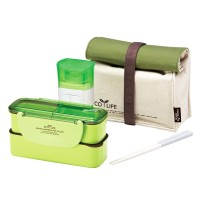 Lock & Lock Slim Lunch Box with Bag and water Bottle - Green