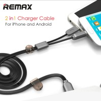Jual Remax 2 in 1 Micro USB & Lightning Data Cable RC-025t Android & iPhone Murah