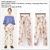 Celana Panjang Kulot Karet Bahan Wanita Putih Bunga Baju Korea Import