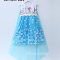 Jual Baju Anak Dress Frozen Samgami Printed Ice Tail Blue Murah
