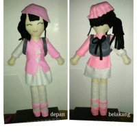 school doll pink uniform+ tas bahan dari kain flanel