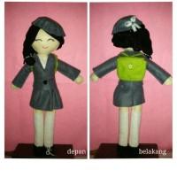 school doll flanel blazer+tas bahan dari kain flanel
