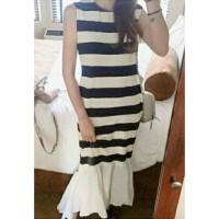 Jual b30860 long dress mermaid frill salur stripe garis hitam putih chiffon Murah