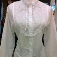 Jual Kemeja putih wanita model bordir kerah shanghai tangan panjang Murah