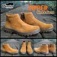 SEPATU PIONEER BOOTS ZIPPER CHOCOTAN size 40 - 44 ( SINTETIS SUPER )