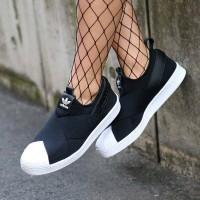 harga Sepatu Adidas Superstar Slip On Black White Tokopedia.com