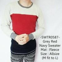 Sweater Cowok Fashion Model Distro Terbaru Keren Grey Red Navy - 587