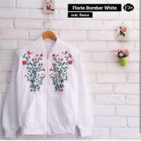 Florie White Real Bomber Jaket Wanita Modern Modis Casual Trendy