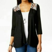 Branded - Extra Big Size Lace Back Blouse Cardigan