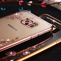 Casing Silicon Soft Case Samsung S7 S 7 Flat Flower Bling Diamond