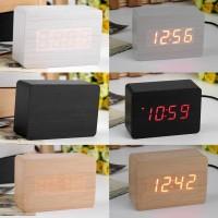 Jam Meja Motif Kayu Digital LED / Wood Digital LED Clock M