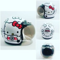 Helm Retro Bogo Hello kitty warna putih met