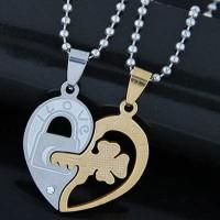Kalung Forever21 Key Lock Pendant Heart