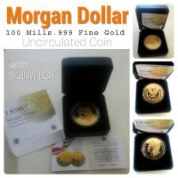MORGAN DOLLAR 1896 -100 Mills.999 Fine Gold Uncirculated Coin -Rplika