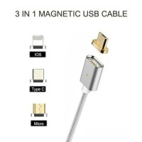 Jual Magnetic 3 in 1 Cable Data Cable Charger Micro USB Lightning Type-C Murah
