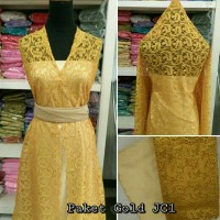 Brokat Brukat Bahan Kain Kebaya Dress Gaun Gamis Couple Paket Gold JC1