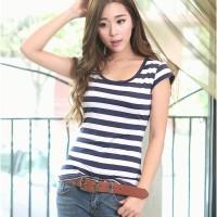 Best Seller Baju Kaos Bergaris Perempuan Cewe Wanita (Stripe T-Shirt)