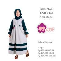 Baju  Muslim Anak Gamis Little Mutif LMG 161 Abu Muda