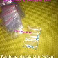 @100pc kantong plastik KLIP 5x8cm clip ziplock segel serbaguna emas
