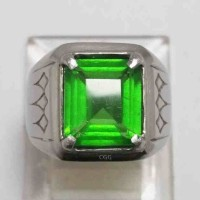 CINCIN ZAMRUD KALIMANTAN OCTAGON EMERALD CUTT KRISTAL BODYGLASS TOP
