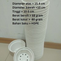 Pot Bunga Plastik WARNA 15 cm putih / kuning / coklat / hijau / biru