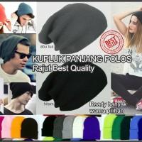 topi kupluk panjang rajut polos tebal warna warni hat0227010