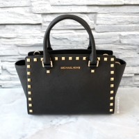Michael Kors Selma Studded Medium Satchel (Black)