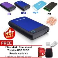 Jual Promo Transcend Ext HDD-Hardisk Eksternal 1TB H3B Gratis Paket Hadiah Murah