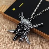 Kalung pria wanita aksesoris cowok logo pirates of caribbean