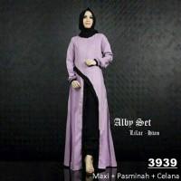 Baju Muslim Murah SG- Alby Set Purple Set Celana Gamis Murah Ecer