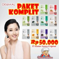 Jual 10 Paket Masker Wajah Korea Dermal Original Collagen Essence Mask Murah