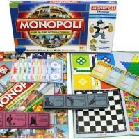 Jual Mainan Keluarga Monopoly 5 in 1 Monopoli Halma Ular Tangga Ludo Catur Murah