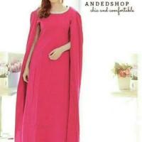 Jual FF2 - maxi longdress sweet pink cape hand style women  Murah