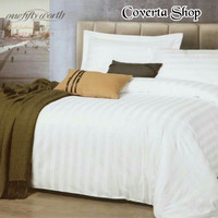 Bed Cover Set Hotel Polos Putih Salur 180x200x30cm