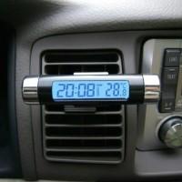 Jual jam mobil dan thermometer digital LCD biru Murah