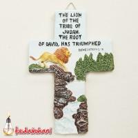 Patung Rohani Salib Gambar Singa 14cm - The Lion of The Tribe of Judah