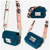 Tas wanita cewek branded import mini lucu imut Zara double lock suede