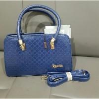 Tas Wanita Biru Dark Import Hand Bag Kantor Kulit Fashion