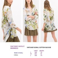 VINTAGE FLORAL COTTON BLOUSE. Made in Turkey - FACTORY OUTLET BRANDED