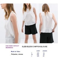 SLEEVELESS CHIFFON BLOUSE. Made in China - FACTORY OUTLET  BRANDED