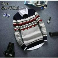 Baju Rajut Pria Korea Naza Grey Tribal Sweater Murah