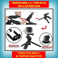 Tripod mini 2 in 1 for DSLR Action cam gopro xiaomi yi brica sjcam HP