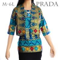 Jual  Atasan Prada Songket Batik Wanita Blus Tunik Blouse Kemeja Batik A323 Murah